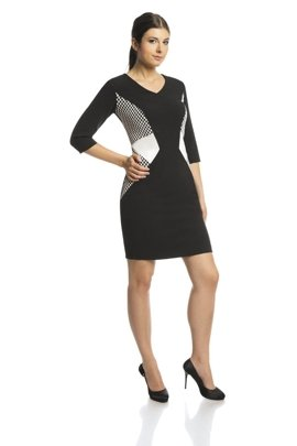 Dress FSU410 BLACK IVORY
