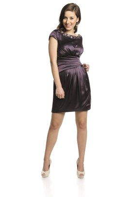 FSU707 Dress DARK PLUM