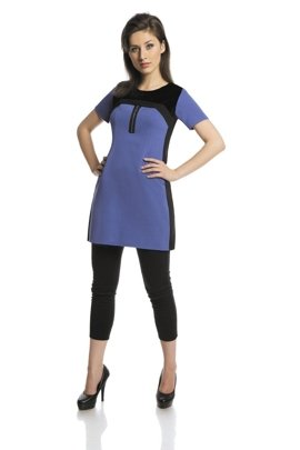 Tunic FTU286 CORNFLOWER BLUE BLACK