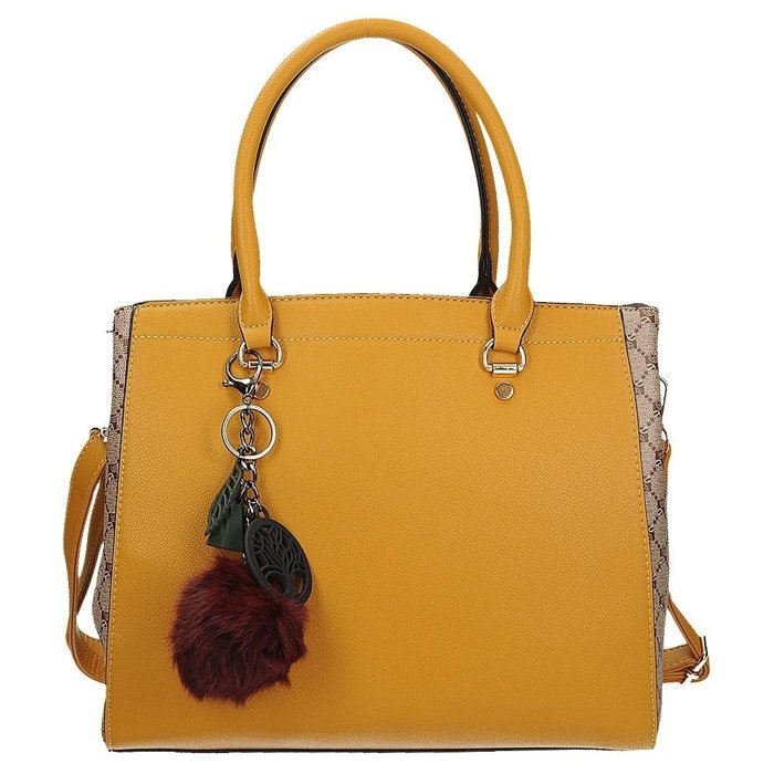 df047175c54d0 Modna torebka damska w kolorze żółtym z pomponem SCHILO JOLIE D1331Y ...