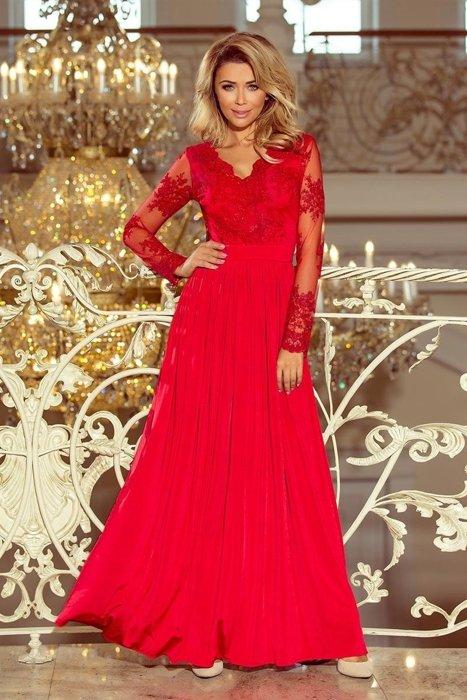 867ce960bc Długa sukienka z koronkową górą i przejrzystymi rękawami oraz głęboko  wyciętymi plecami