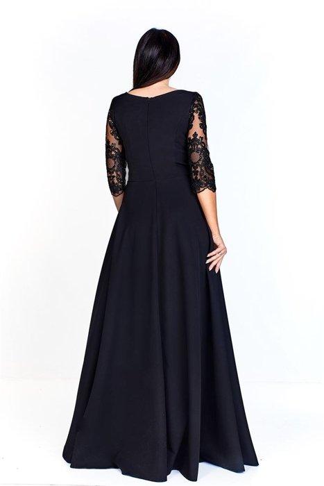 c7c8cf6550 Wieczorowa sukienka maxi z dopasowaną gipiurową górą ozdobioną cekinami i  rękawem 3 4 luźny dół
