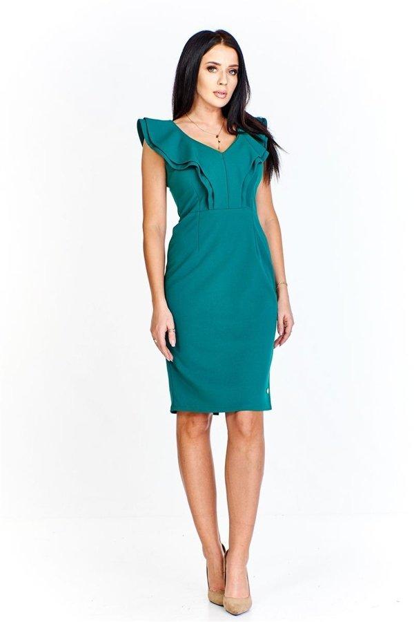 d06b3cfaa3 Monochromatyczna sukienka z falbaniastymi półrękawkami i tworzącymi a la  żabot z przodu sukienki