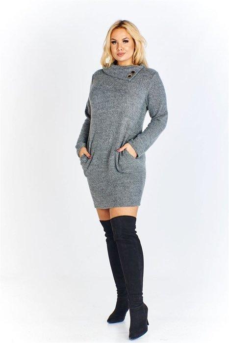 289f9a66 Sukienka a'la sweter w melanżowym odcieniu z ozdobnym kołnierzem i ...