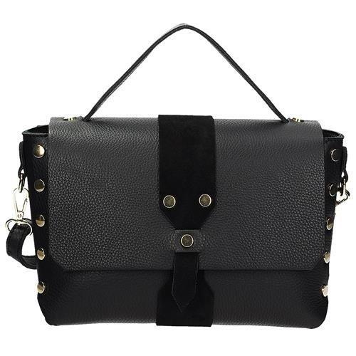 baaf9f435a1b2 Skórzany kuferek torebka damska w kolorze czarnym VERA PELLE KR-26 ...