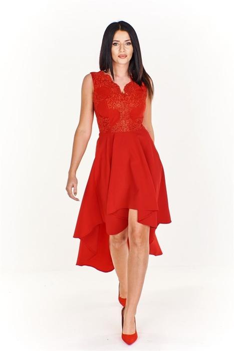 2a4a6e32e61fa9 Zjawiskowa asymetryczna sukienka z wyszywaną górą Czerwony | Fokus.pl