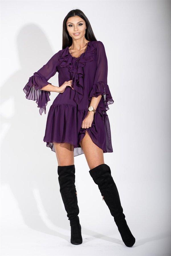 9729aa12a4 Zwiewna sukienka mini z wiązanym dekoltem Fioletowy