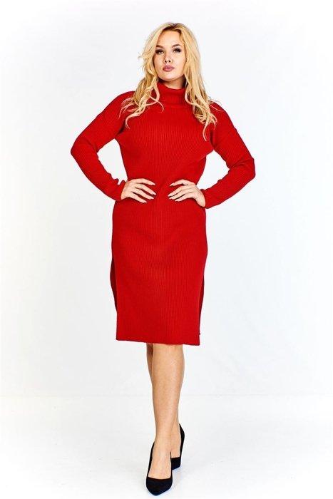 e9c96b9073 Sukienka z prążkowanej tkaniny z golfem i rozporkami po bokach ...