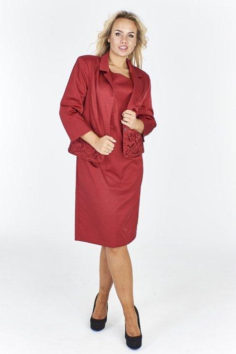 a2ee48d5353b14 Elegancki zapinany żakiet i taiowana sukienka Bordowy   KOBIETA \ Suits    Suknie Wizytowe   Suknie Wieczorowe   Garsonki   Fokus