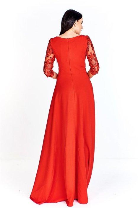 ba0ec9d7cb Wieczorowa sukienka maxi z dopasowaną gipiurową górą ozdobioną cekinami i  rękawem 3 4 luźny dół