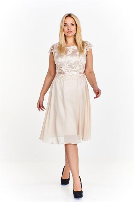 2f1bc77ee3 Elegancka sukienka z wyszywaną górą ozdobioną połyskującymi cekinami  rozkloszowana ku dołowi