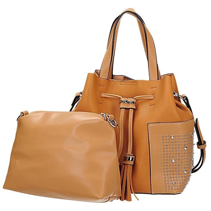 d09d2ecd2df6b Pomarańczowa torebka damska typu worek z wyjmowaną kosmetyczką VERYRIO GE  3011