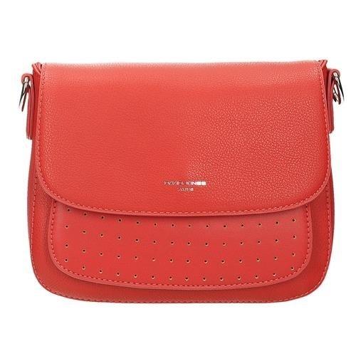 b8461cdaff47a Czerwona torebka listonoszka z ażurowym przodem DAVID JONES 5939-2 ...