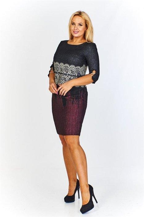 23aa4c8fbd Sukienka z łączonych kolorów z połyskującym efektem oraz koronkową wstawką  w pasie i rękawami 3