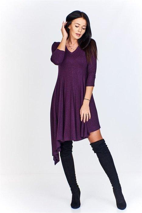 76efe6df80 Asymetryczna sukienka z dekoltem w serek i rękawem7 8 Fioletowy ...