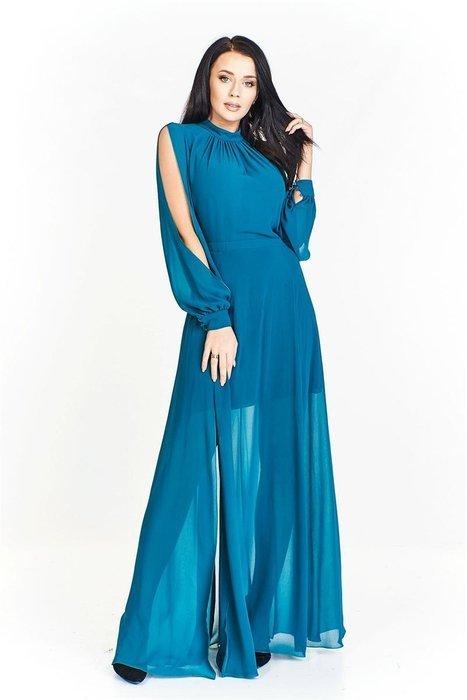 856fb0b7cde Długa sukienka z prześwitującej tkaniny ze stójką i rozcięciami na rękawach  oraz z dużym rozporkiem