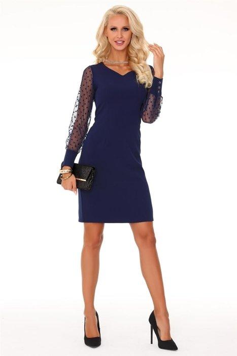 5deb9b7993 Ołówkowa sukienka z subtelnym dekoltem w serek i rękawami z prześwitującej  tkaniny w groszki