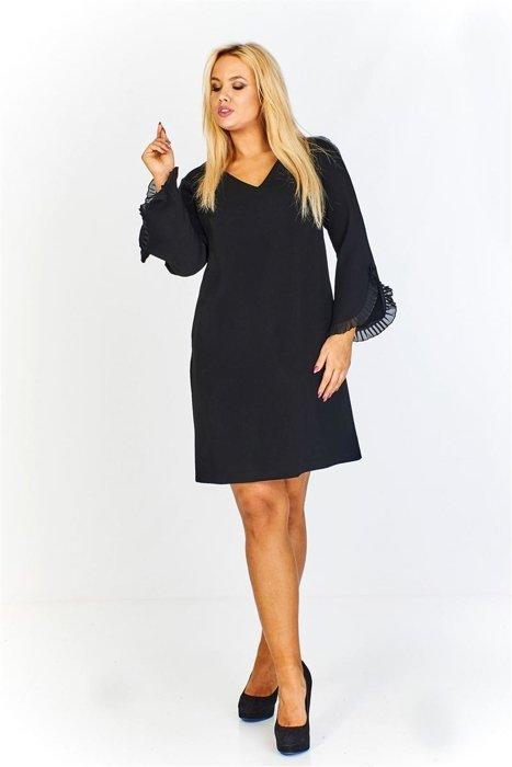 6ba8e3816ab4c5 Trapezowa sukienka z fantazyjnymi rękawami i dekoltem w serek czarny ...