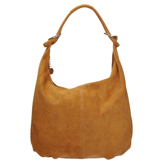 5c81c2fc0edcf Skórzana zamszowa torebka damska na ramię w kolorze kamelowym VERA PELLE  KR-06