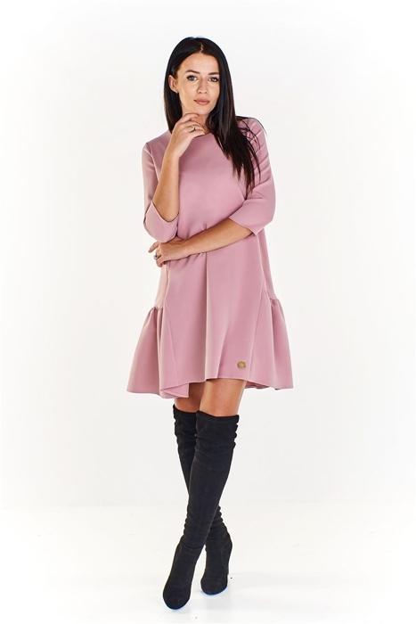 8db7561e03 Trapezowa sukienka z dłuższym tyłem i falbaną na dole Różowy