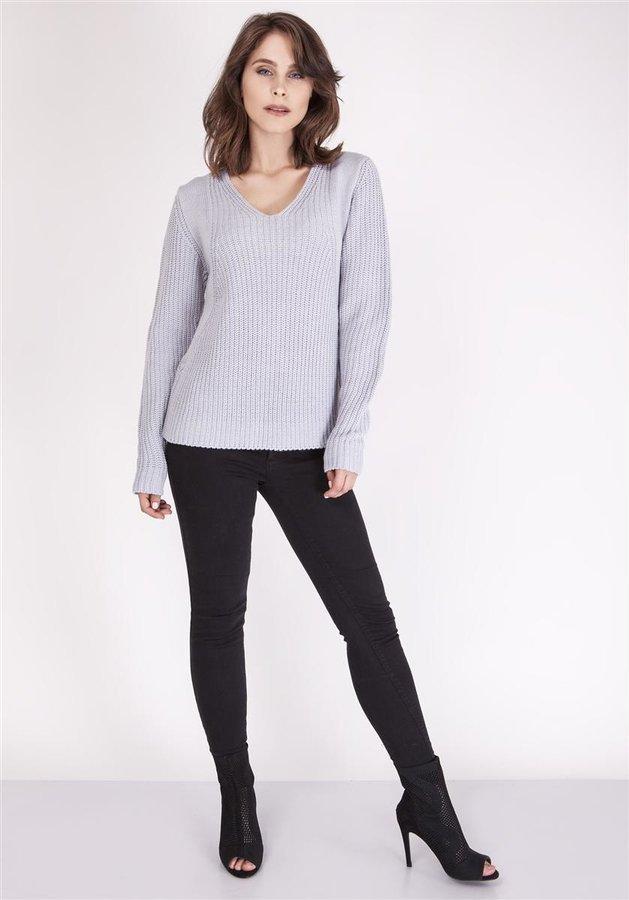 54d8024c0d5051 Gładki sweter z dekoltem w serek z prążkowanej tekstury Szary ...