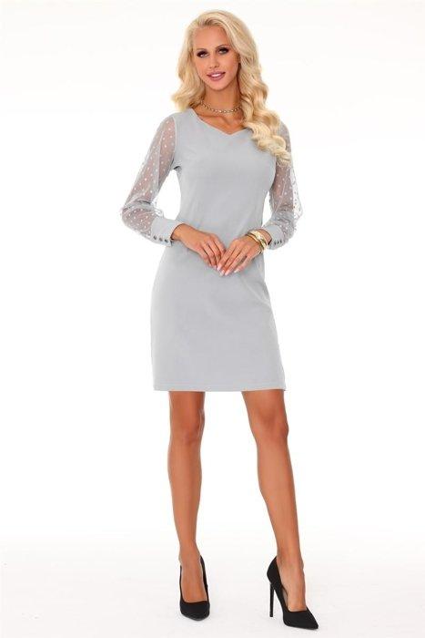 a9a3b1aa57 Ołówkowa sukienka z subtelnym dekoltem w serek i rękawami z prześwitującej  tkaniny w groszki