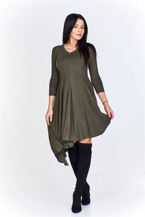facf6064c6 Asymetryczna sukienka z dekoltem w serek i rękawem7 8 Zielony ...