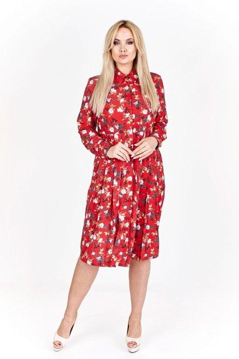 2f4e18ca1f Wzorzysta sukienka midi zapinana na guziki