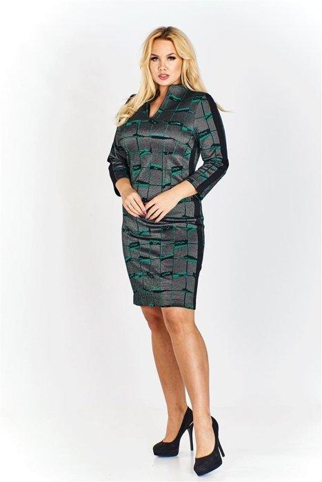 2d4a563fb5 Sukienka w ciekawe wzory z lampasami po bokach oraz na rękawach z  nietuzinkowym dekoltem i stójką