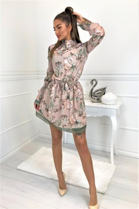 a5e1ea8adf Wzorzysta sukienka z wycięciami na ramionach i wiązanym szalem przy szyi