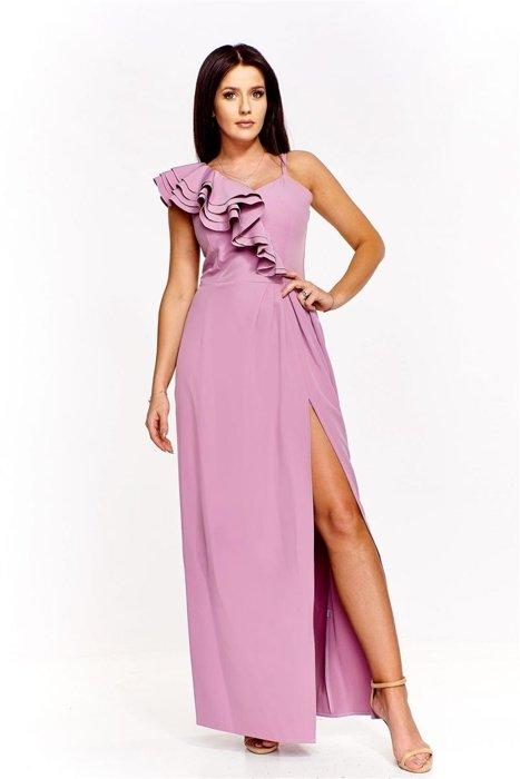 571ef2d1f6 Sukienka maxi z falbaną Fioletowy