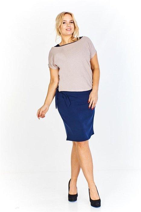 ddbdac86f9f8 Sukienka z kontrastującą kolorystycznie a la narzutką imitującą bluzkę z  krótkim rękawem i wiązaniem