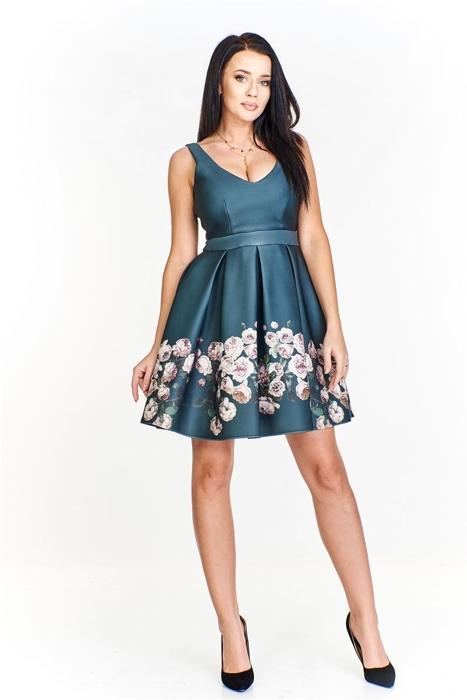 0d822ff55c Sukienka rozkloszowana ku dołowi z połyskującej tkaniny ozdobiona kwiatowym  wzorem