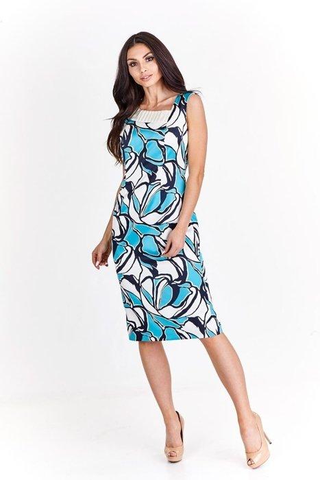 97289b91f6 Sukienka FSU915 EKRI + TURKUSOWY Sukienka FSU915 ekri + turkusowy ...