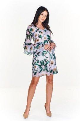 d473ad3a92 Melanżowa sukienka w a la rozmyte kwiaty Granatowy