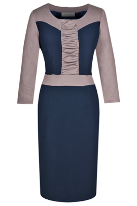 Dress FSU290 NAVY GREY AND BEIGE