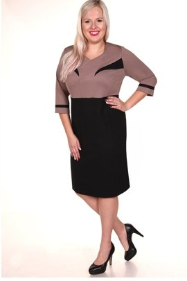 Dress FSU294 BLACK DARK BEIGE