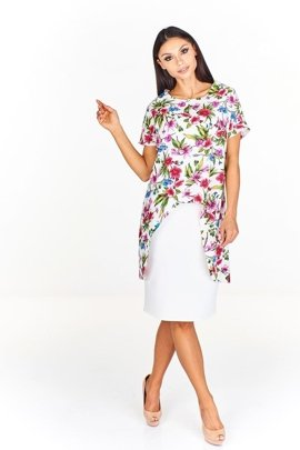 85820ed61f Sukienka FSU620 EKRI + RÓŻOWY kwiaty Sukienka FSU620 EKRI + RÓŻOWY kwiaty