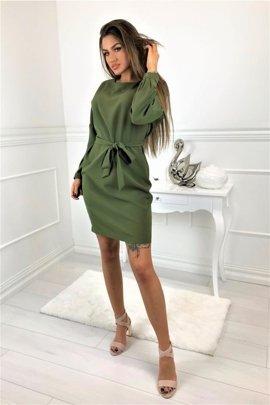 096eedf95d Sukienka z lekko bufiastymi rękawami wykończonymi mankietami