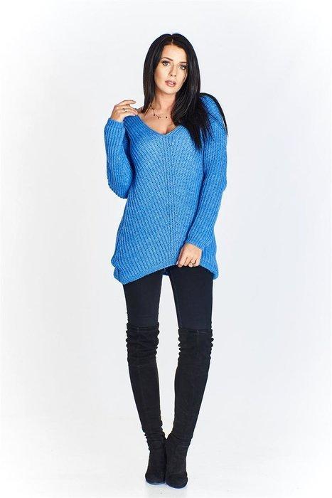 6428d8c15c6c9b Gładki sweter z dekoltem w serek NIEBIESKI | KOBIETA \ Swetry ...