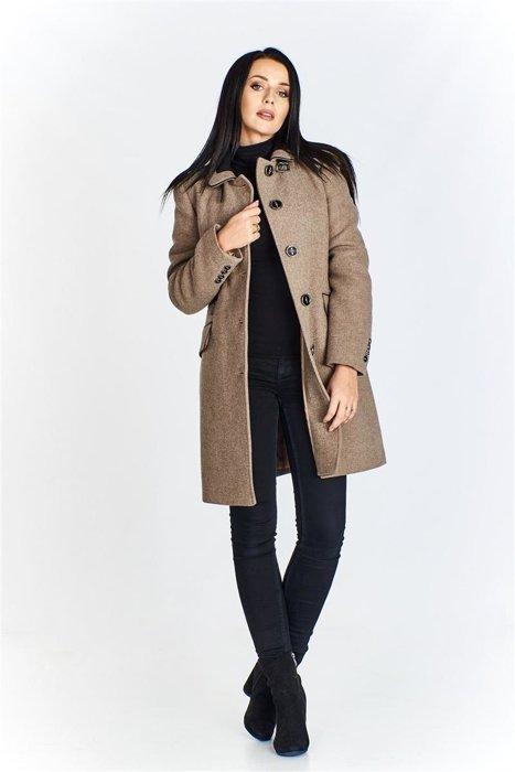 Płaszcz damski zapinany na guziki Beżowy | KOBIETA