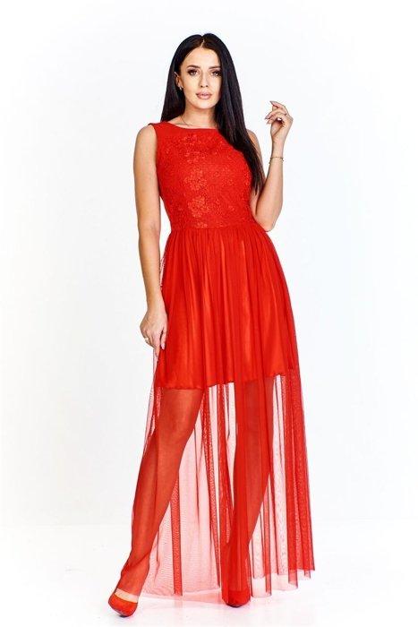 cdb6d13f955 Sukienka z wyszywanym przodem i dołem z krótkiej podszewki i długiej  prześwitującej spódnicy