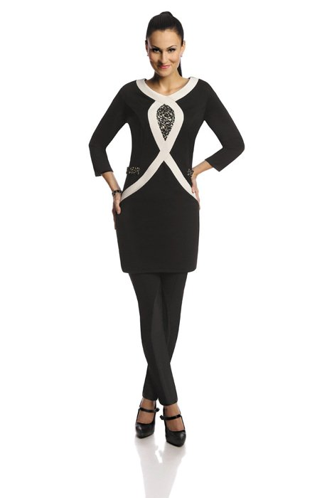 Tunic FTU304 BLACK IVORY