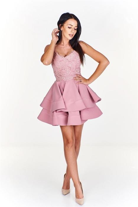 f06461a87e Urocza sukienka z koronkową górą i falbaniastym dołem Różowy ...
