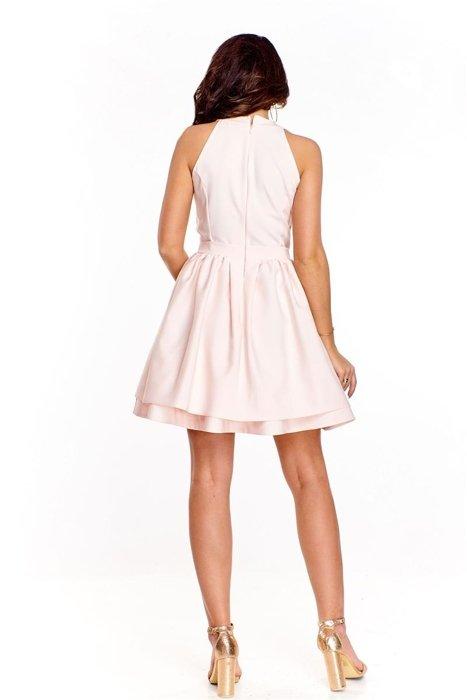 Wieczorowa sukienka z koronkową górą urozmaiconą siateczkową