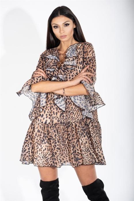 60b0645b0e Zwiewna sukienka mini z wiązanym dekoltem Beżowy