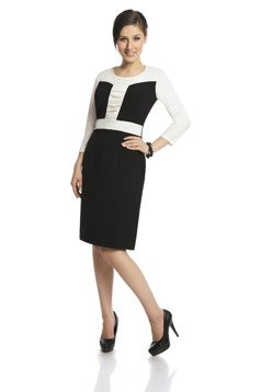 Dress FSU290 BLACK IVORY