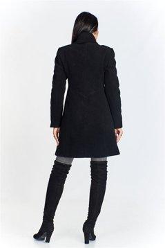 fa1debcbf3c6 Płaszcz o lekko trapezowym kroju z a la wełnianymi wstawkami oraz ze stójką  zapinany na guziki czarny