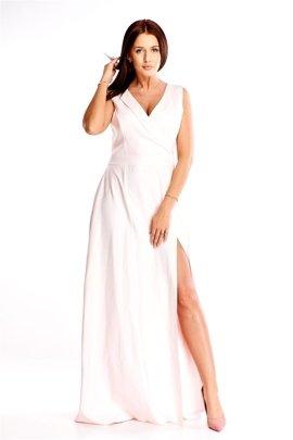bab377fb0b5b2d Długa wieczorowa sukienka z kopertowym dekoltem i głębokim rozporkiem