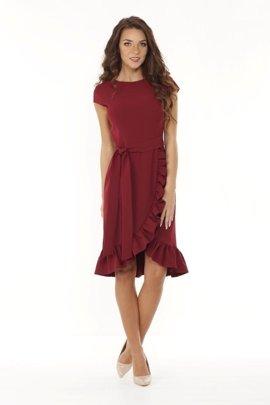 8ae41b4752 Elegancka wiązana w pasie sukienka z asymetrycznym dołem urozmaiconym  falbaną